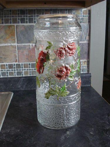 Large Goofus Glass Style Hand Blown Pickle Jar Vase