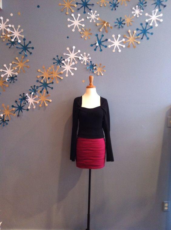Magenta Textured Mini Skirt by Ya $48.00