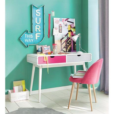 silla vintage de tela y abedul macizo fucsia mauricette. Black Bedroom Furniture Sets. Home Design Ideas