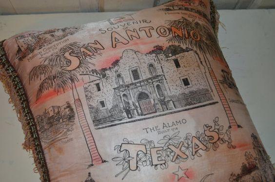 Souvenir pillow San Antonio Texas Alamo Pink Shabby