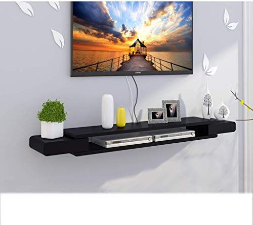 New Floating Shelf Black Floating Wall Shelf Tv Cabinet Tv Stand Set Top Box Shelf Tv Console Storage Unit Organizer Shelf Dvd Cable Box Size 130cm Online Living Room