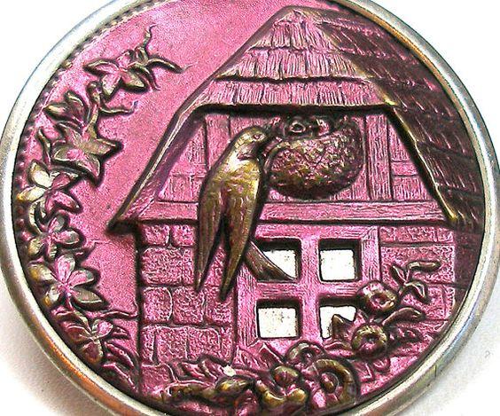 3D Victorian metal bird button.