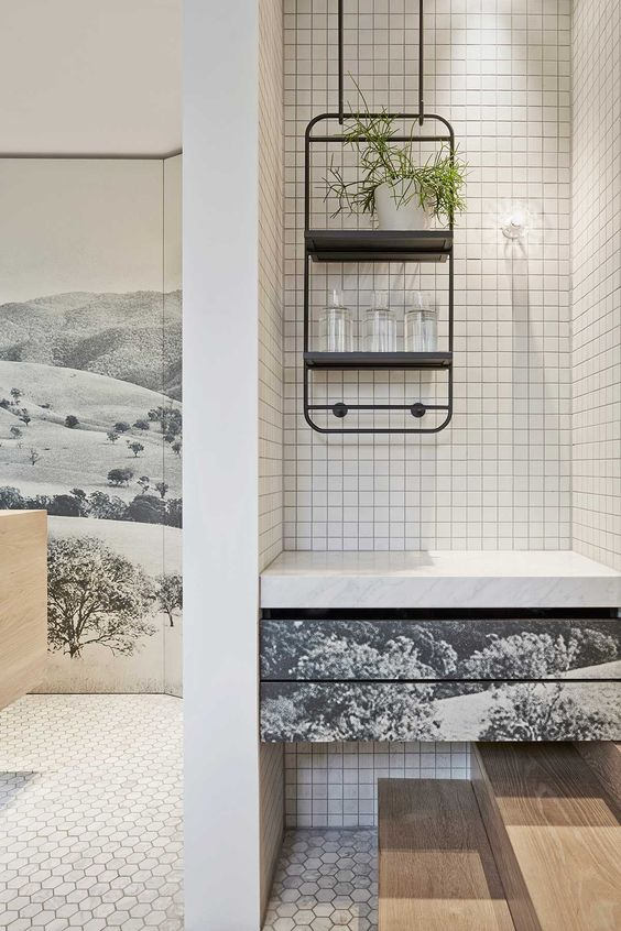 love the landscape printed storage fronts. Kettle Black Cafe in Melbourne by Studio You Me | Yellowtrace