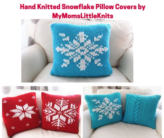 Hand Knitted Snowflake Pillow Covers by MyMomsLittleKnits