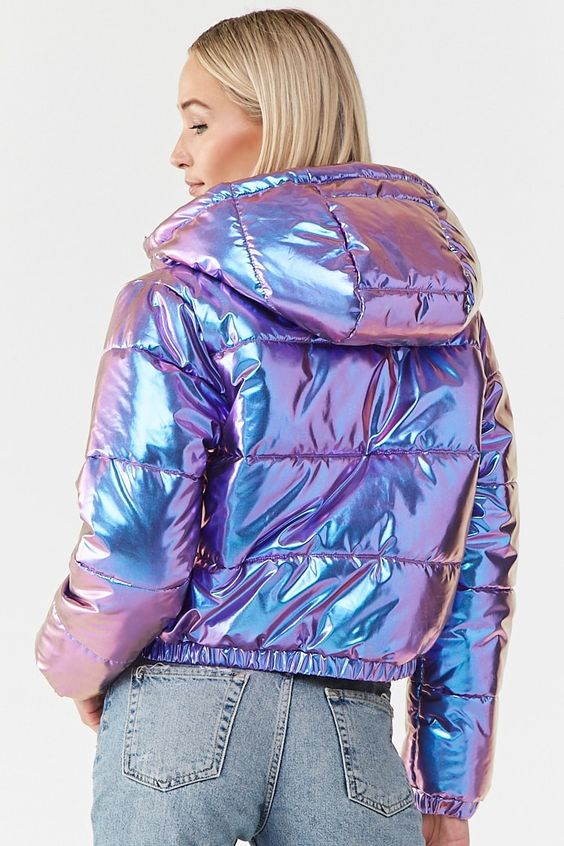 Iridescent Metallic Puffer Jacket | Forever21 | A woven puffer jacket featuring an iridescent metallic finish, hood, funnel neck, long sleeves, slanted front pockets with snap-button closures, zip-up front, and an elasticized hem.#nextclo #clothes #womenclothes #womenfashion #forever21