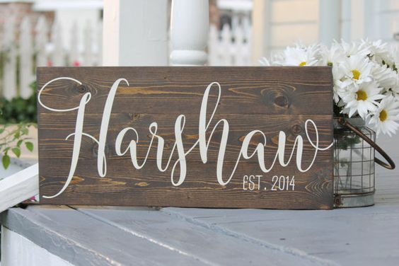 A beautiful hand painted family name slatted wood sign. This rustic sign adds warmth to a room tucked on a shelf or hung on the wall. Also a