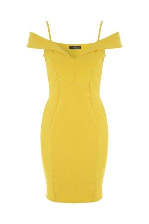 Yellow Bardot Midi Dress
