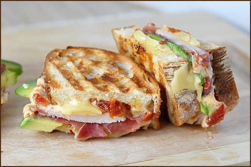 Prosciutto-Wrapped Turkey, Avocado & Swiss Panini by veryculinary: Great for turkey leftovers!