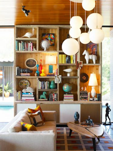 PhilipFicks :: Love that bookshelf,  the wood & that light fixture!