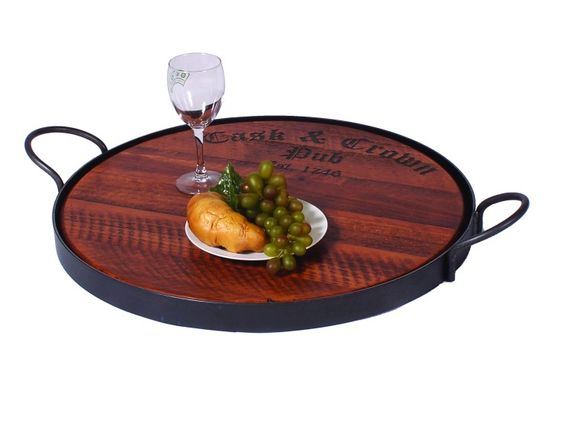 Oversized serving tray with heavy wrought iron base. Olde English Cask & Crown logo is laser engraved as shown. Perfect for Cheese, Fruit or appetizers. This rich, handsome, ruggedly built table piece will last for years. A thoughtful house warming, anniversary or bridal gift.  Size:4X27X23