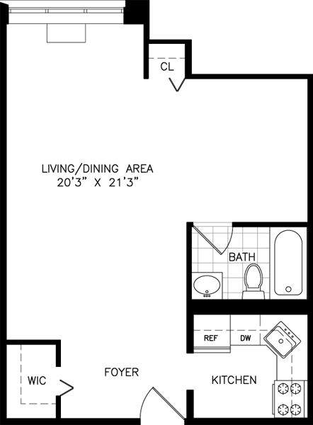 Studios nyc and studio apartments on pinterest for Floor plan for studio apartment