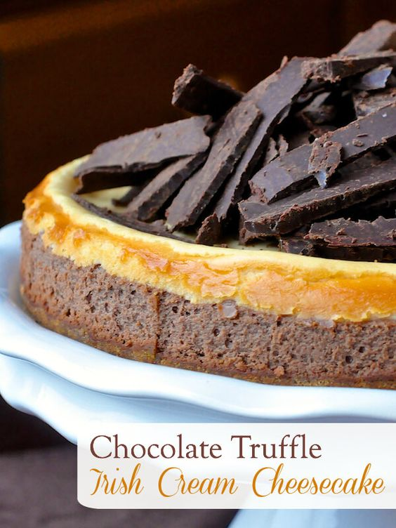 Chocolate Truffle Irish Cream Cheesecake - layers of chocolate and Bailey's Irish Cream flavoured cheesecake topped with shards of Bailey's chocolate truffles. The perfect indulgent dessert for St. Patrick's Day.