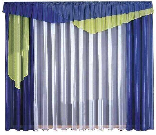 ستارة مودرن شيفون برقع زوج ستائر خلفية مقاس W300cm L250cm أبيض أزرق أخضر Furniture Decor Home Furniture Decor