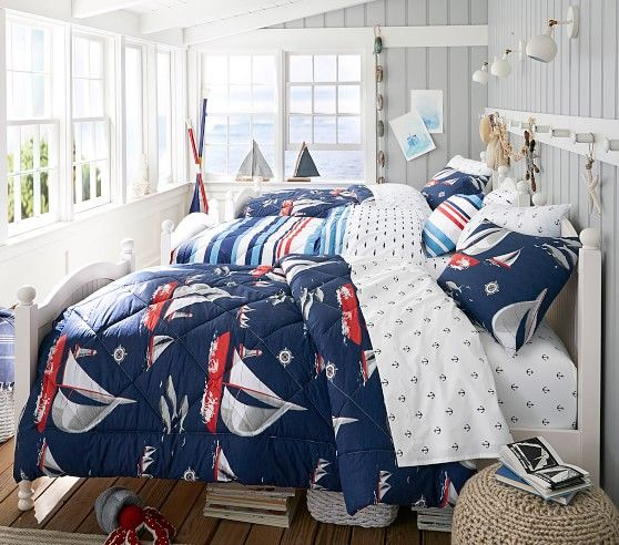 Sailboat Bed In A Bag Pbkids Affordable Bedroom Decor Affordable Bedroom Boys Bedroom Decor
