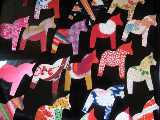 Swedish Dala horses, dressed in Japanese kimono!