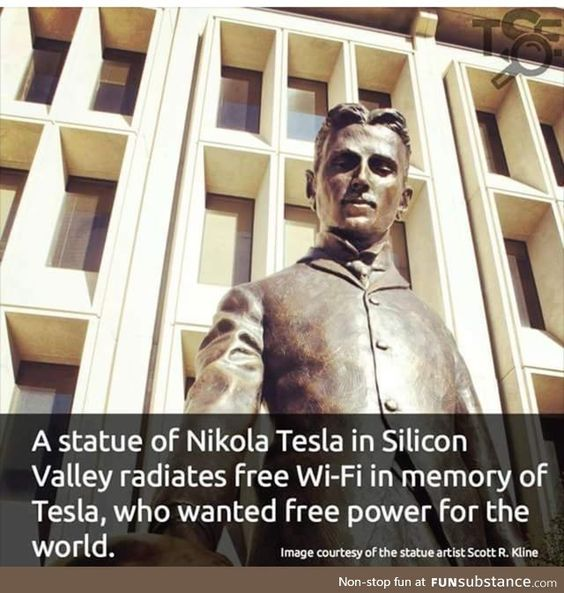 Statue of Tesla has free Wifi
