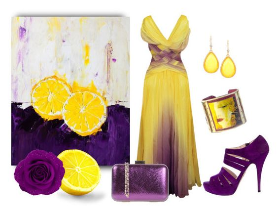 """Yellow And Violet"" by sjlew ❤ liked on Polyvore featuring Prada and Silvian Heach"