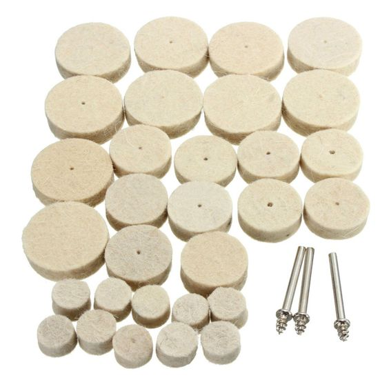 $3.23 (Buy here: http://appdeal.ru/5or9 ) 33Pcs/set 30mm/24mm/12mm Soft Felt Polishing Buffing Wheel Mixed Accessory Rotary Power Tools for just $3.23