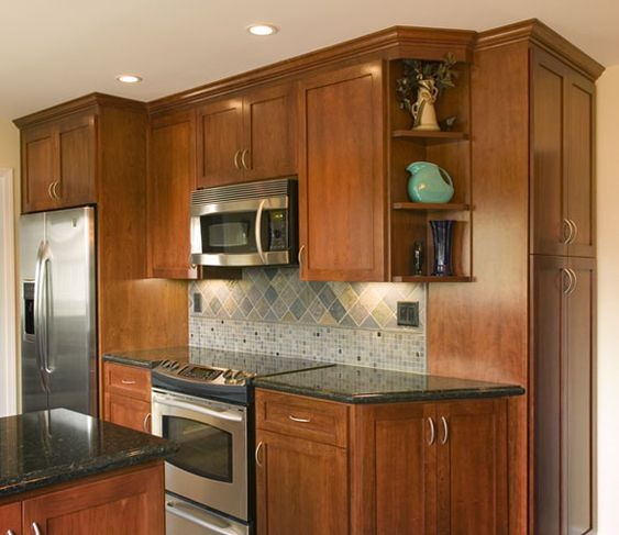 Upper cabinet end angled google search kitchen for Angled corner kitchen cabinets