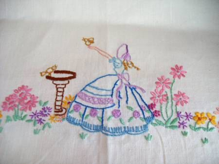 Feed the Birds - Hand Embroidered Crinoline Lady in Garden Chair Back or Tray Cloth - 1930's