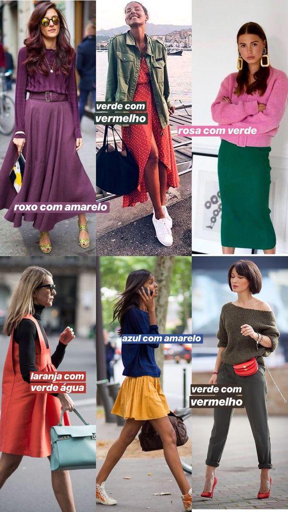 ideias para fazer combinações com cores complementares, contrastantes, que ficam opostas no círculo cromático: roxo com amarelo, verde com vermelho, verde e rosa, laranja com azul, amarelo com azul!
