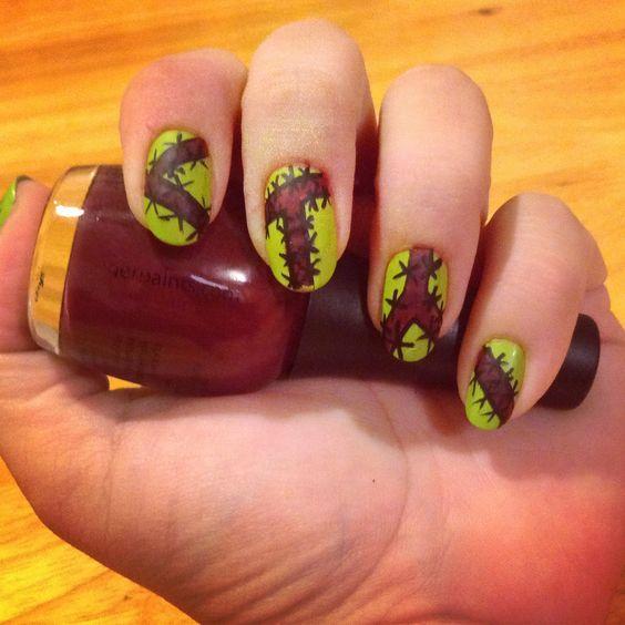 Frankenstein nails for Halloween!