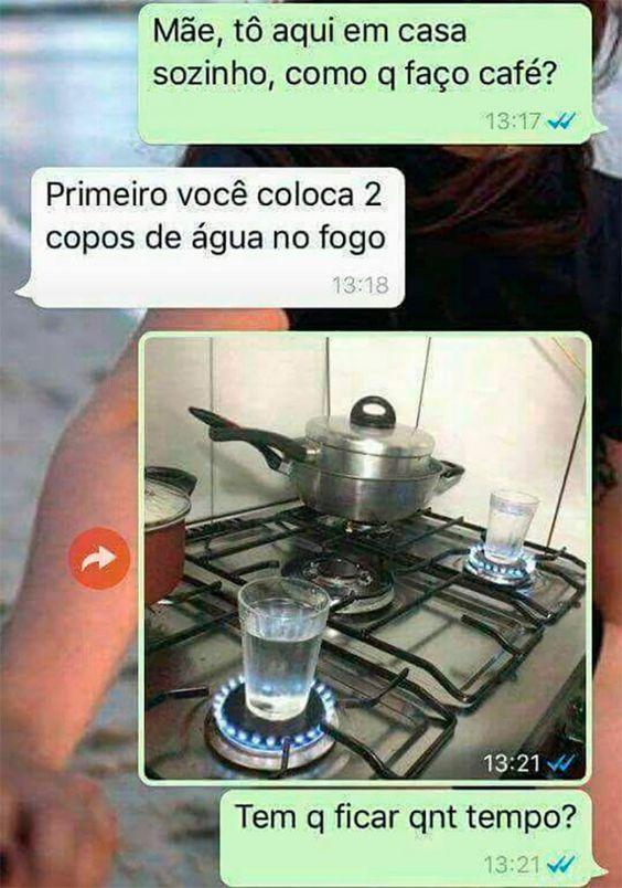 Mãe, tô aqui em casa sozinho, como que faço café?…