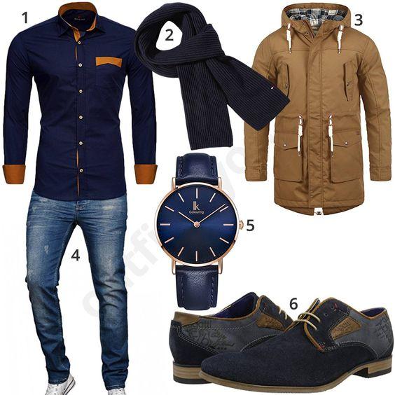 Dunkelblaues Herrenoutfit Mit Hemd Armbanduhr Und Schal Bekleidung Herren Klassische Herrenmode