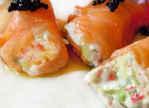 tapas frias de salmon ahumado