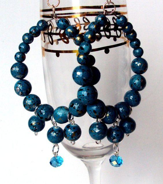 teal earrings blue teal earrings teal bauble by NezDesigns on Etsy, $10.00