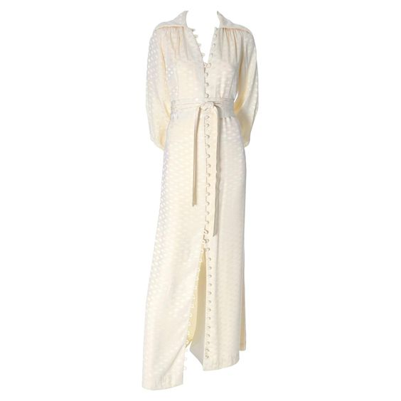 Estevez Ivory 1970s Vintage Dress Maxi Button Front 1970s Shift Obi Style Belt | From a collection of rare vintage evening dresses and gowns at https://www.1stdibs.com/fashion/clothing/evening-dresses/