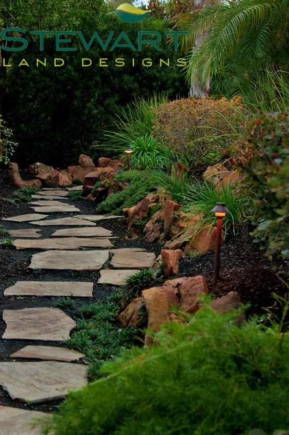 Add a little lighting for your path - for safety and after-dark beauty! #StewartLandDesigns