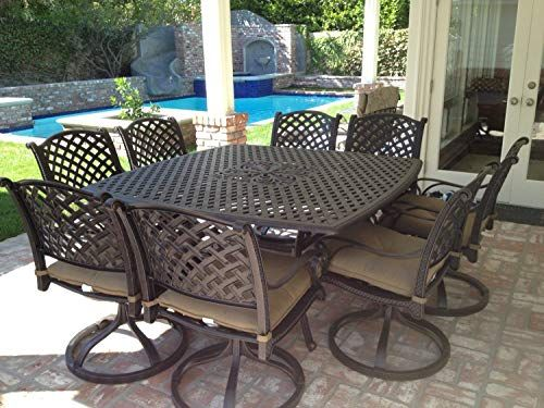 Nassau Cast Aluminum Powder Coated 8 Person Patio Dining Set With Lazy Susan Antique B In 2020 Outdoor Patio Furniture Sets Cast Aluminum Patio Furniture Patio Decor