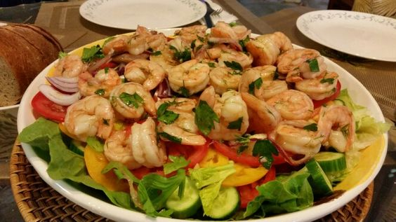Bloody Mary Salad with Marinated Shrimp