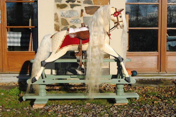 Brassington and Cooke Antique Wooden rocking horse vintage