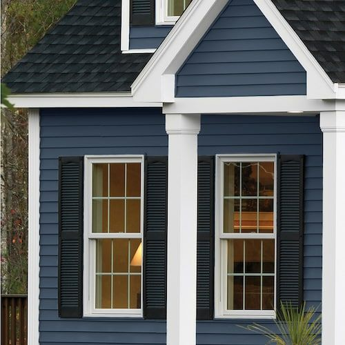 Georgia Pacific Compass Vinyl Siding Panel Double 4 Traditional Bayou Blue 8 In X 150 In Lowes Com Exterior Siding Colors Vinyl Siding House Vinyl Siding Panels