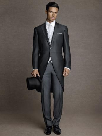 Dot-effect glossy wool/silk morning #suit. Slate grey, with pearl