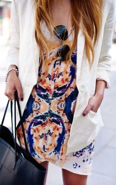 patterned dress + blazer.