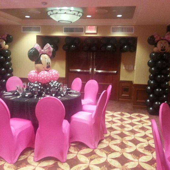 Minnie mouse polka dots baby shower party ideas baby for Baby shower hall decoration