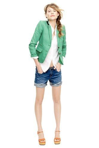 mint blazer, jean shorts, easy style.
