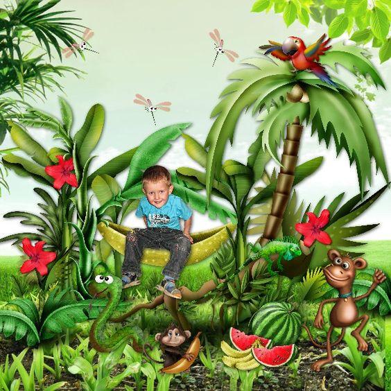 Bribri62-Scrap: Ma page avec le Kit Promenade dans la jungle de Kittyscrap