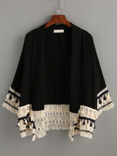 Kimono flecos casual -negro: