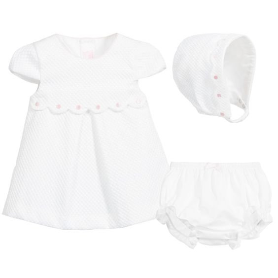Mayoral Baby Girls 3 Piece Ivory & Pink Dress Set at Childrensalon.com