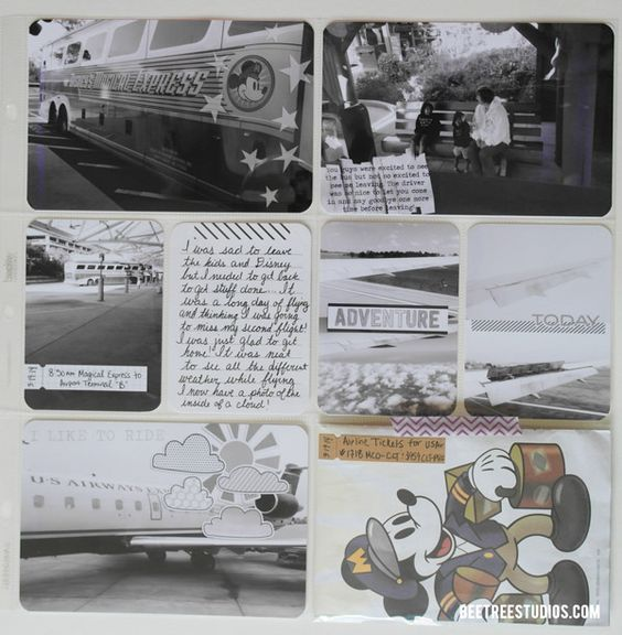 multiple Project Life pages featuring a Disney trip - Project Life 2014 Week 12 | Bee Tree Studios