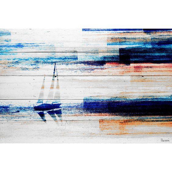 Parvez Taj - 'Aegean Sea' Painting Print on Reclaimed