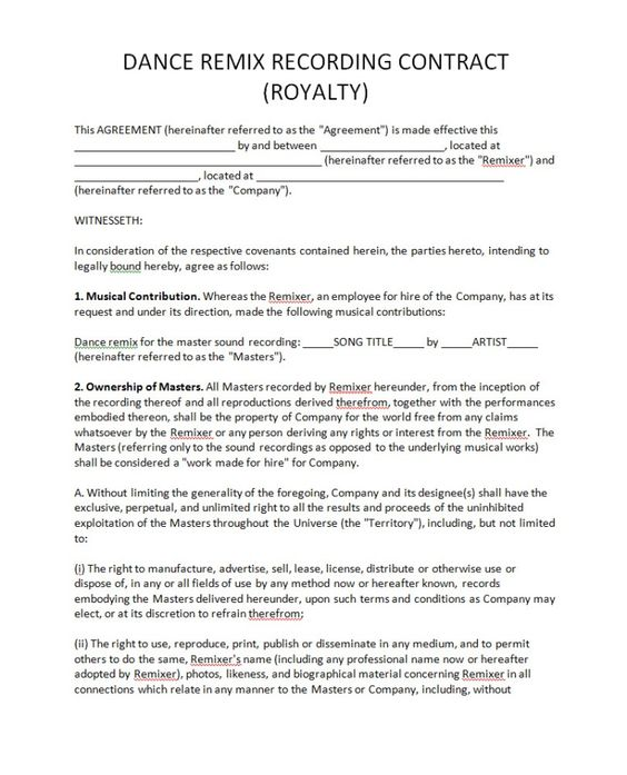Pricing Record Label Agreements - royalty agreement contract - music agreement contract