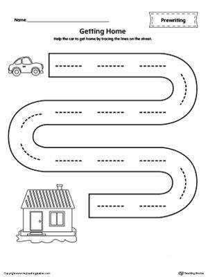 **FREE** Street Line Tracing Prewriting Worksheet Worksheet.Help the car to get home by tracing the lines on the street in this  printable worksheet.