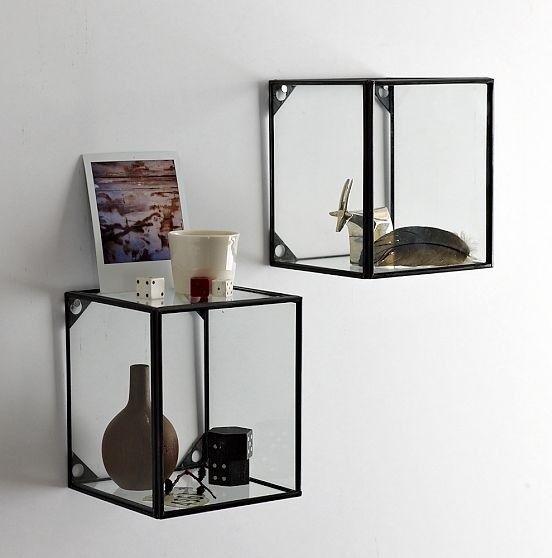 Glass + Metal Display Shelf traditional wall shelves