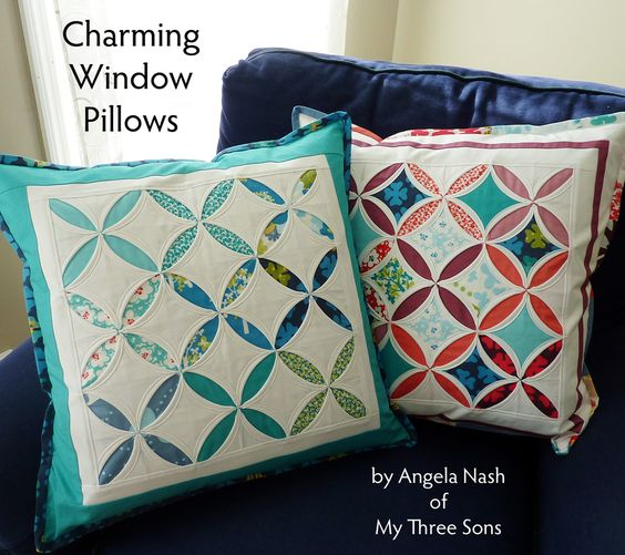 Moda Bake Shop: Charming Window Pillows Tutorial ~ Love the blue one! looks like sky and clouds!