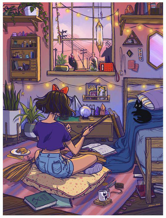 Kiki's Room Print · Jacquelin de Leon Illustration · aesthetic room art| soyvirgo.com